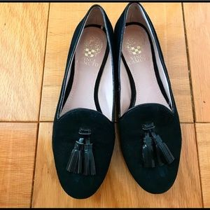 Vince Camuto Black Suede + Patent Loafers